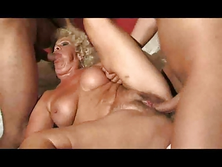 Distraught granny gets comfort from 2 young cocks 9