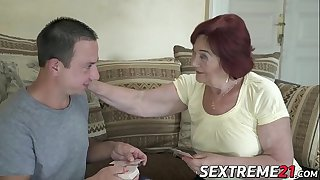 Redhead granny and her boy..