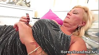 Grandma slut eats cum