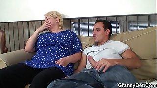 Busty blonde grandma