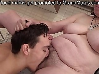 Bossy granny enjoys a young..