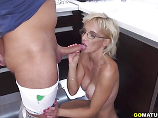 Horny older lady doing her..