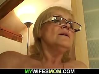 70 yo blonde granny rides..